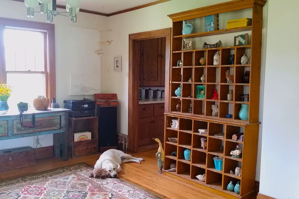 View of the dining room and our sweet and mellow English Retriever, Mildred.