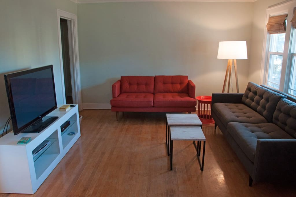 Clean mid-century living room