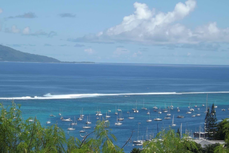 Moorea Island and Tahiti lagoon view.