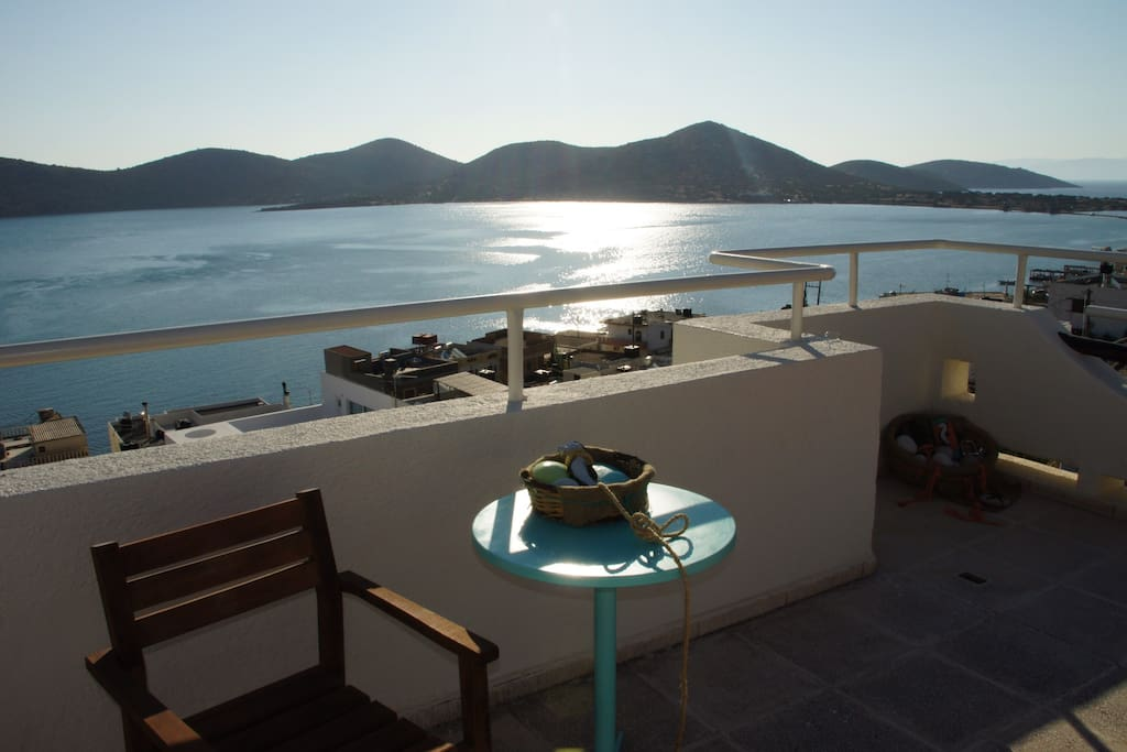 View of the Elounda bay from the terrace of the house