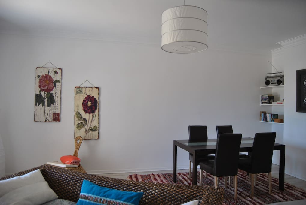 Living Room (32m2) - Contemporary Scandinavian decor mixed with small Moroccan accessories.