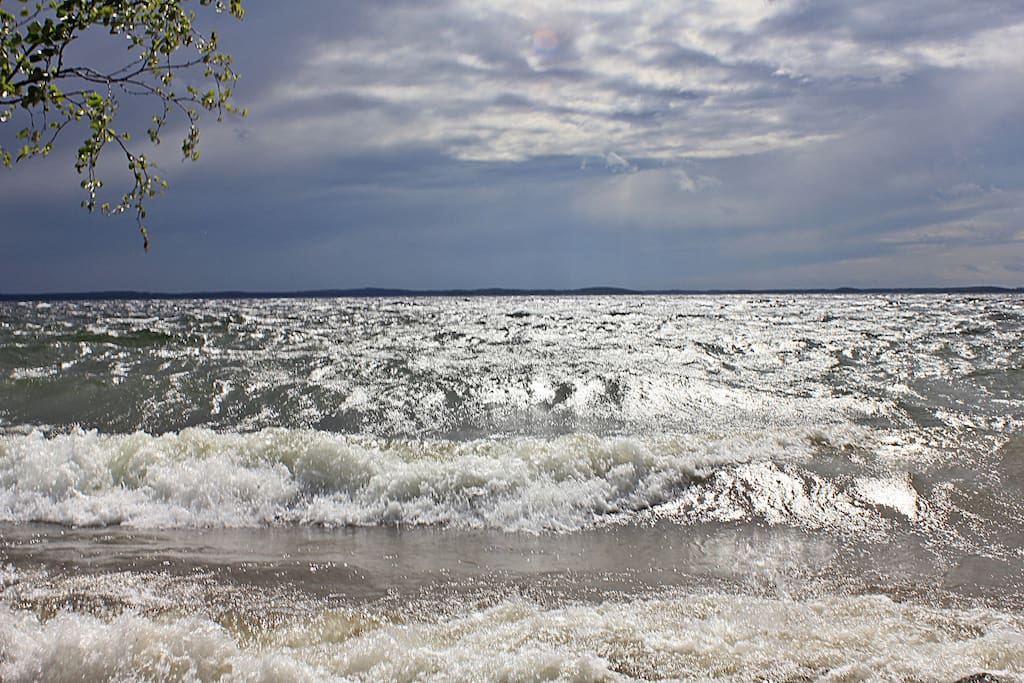 One stormy day at the lake, lakeview from the shore.