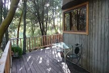 The deck and table. We have added a BBQ.