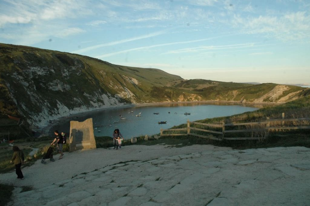 Lulworth Cove, a short walk to this  World Heritage Site