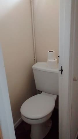 Down stairs toilet outside of bedroom