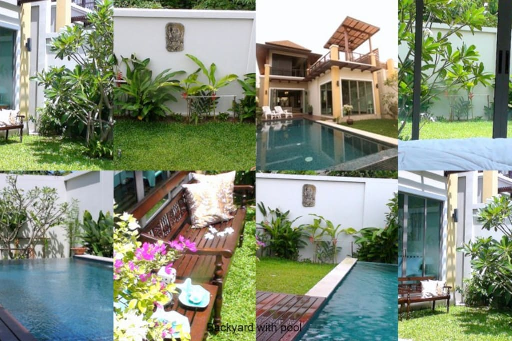BACK YARD AND POOL -A COLLAGE