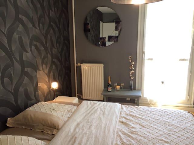 Jolie chambre avec lit king size! - Reims - Apartamento
