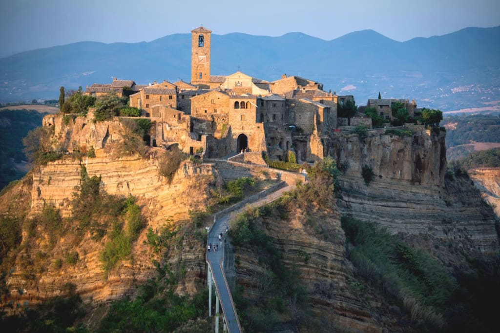 The town of Civita and its pedestrian bridge