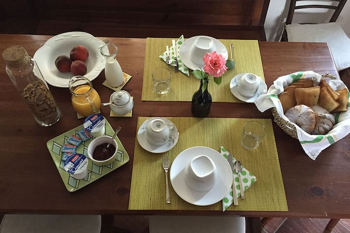 Our italian breakfast: coffee (filtered and expresso) , milk, bread, croissants, butter, jam, cereals, orange juice, fresh fruit
