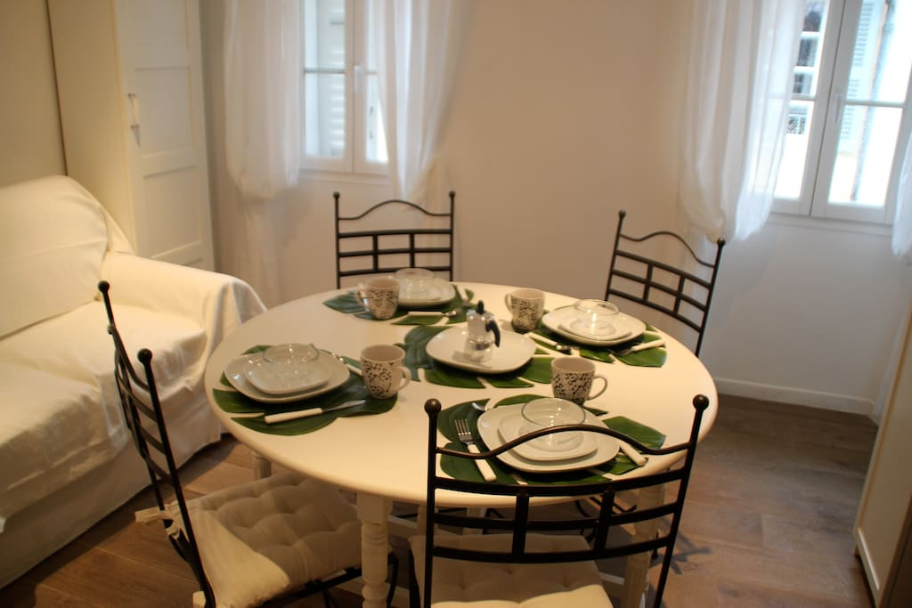 open table set for 4 persons