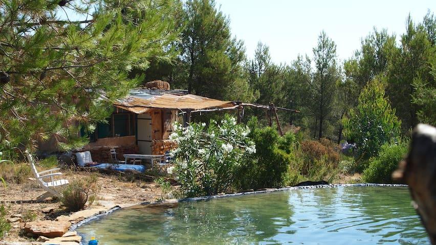 Earth cabin, natural pool &sea view - La Cadière-d'Azur - Kabin
