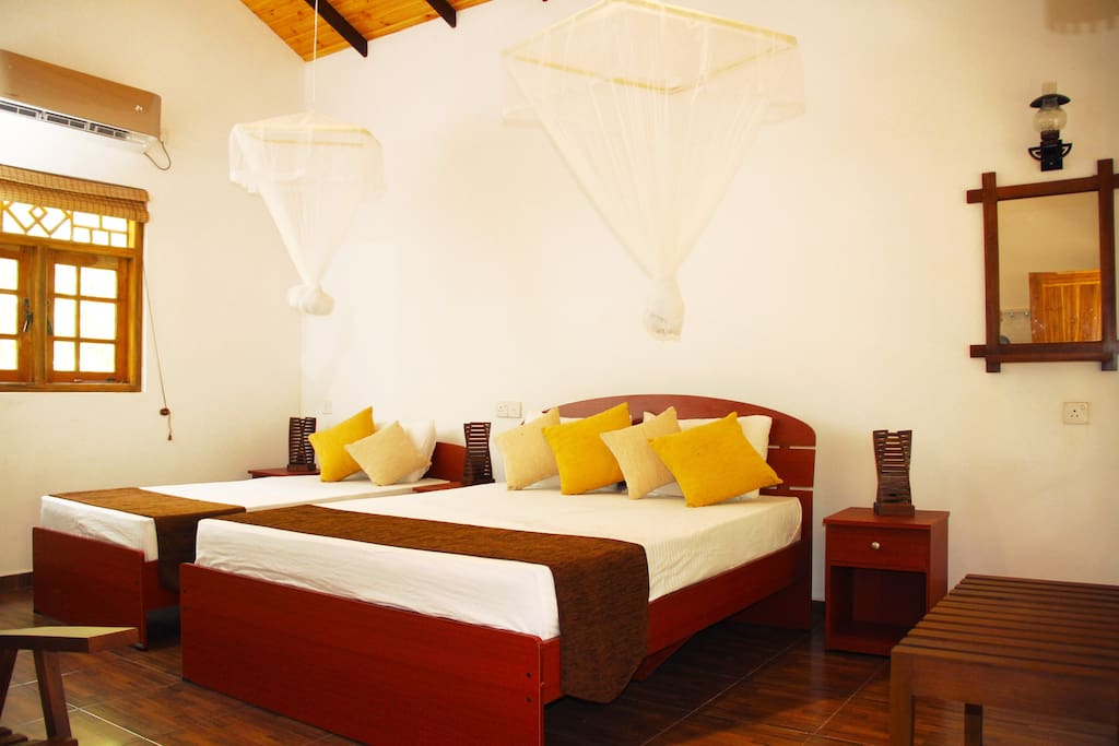 One double, one single bed for up to 3 guests. Single bed can be removed for 1 - 2 guests.