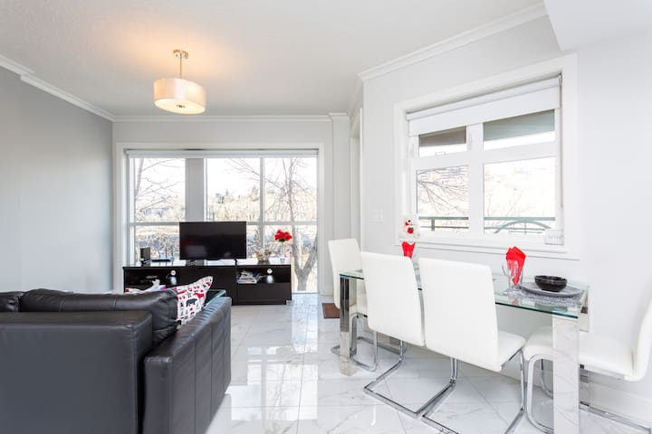 Gorgeous Downtown Condo; Steps to Bow River+Wi-Fi