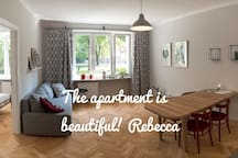 Large living room with a kitchenette