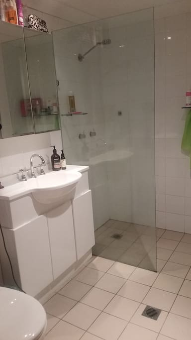 Great shower & bathroom including washing machine & dryer.