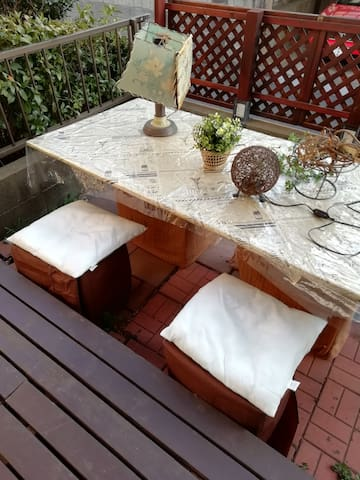 For fresh air and relaxing, you can stay here. ; wooden deck space with full of sun shine.