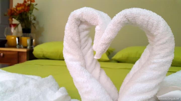 Habitación cama matrimonial  y aire acondicionado