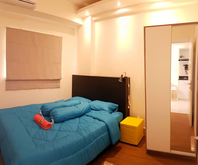 Master bedroom for two people. There are wardrobe and AC available