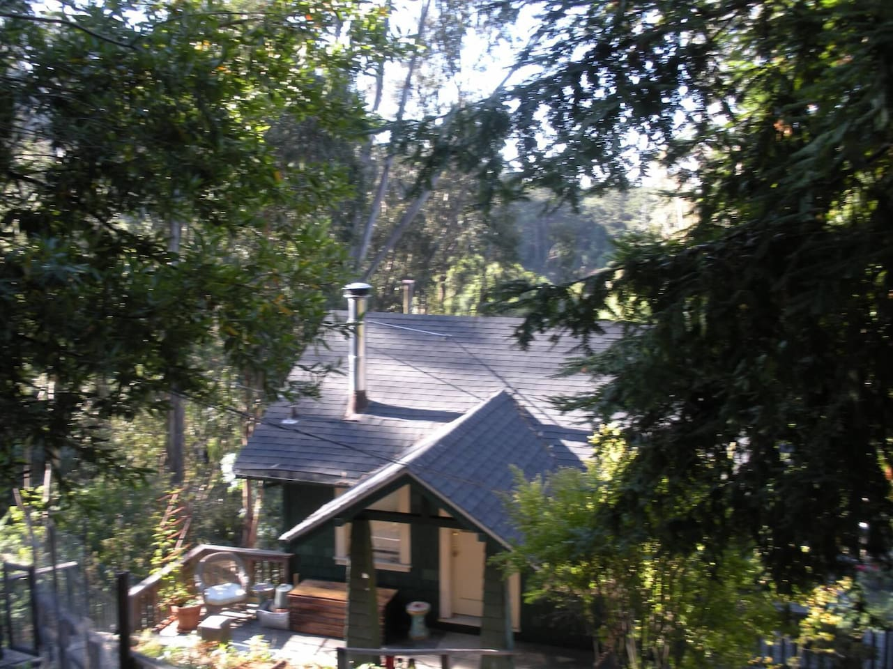 Our cottage is nestled into the hill. Built in 1918, the builders chose bedrock to build on. The road was added later so there are over 60 steps to the main entrance of your stay.