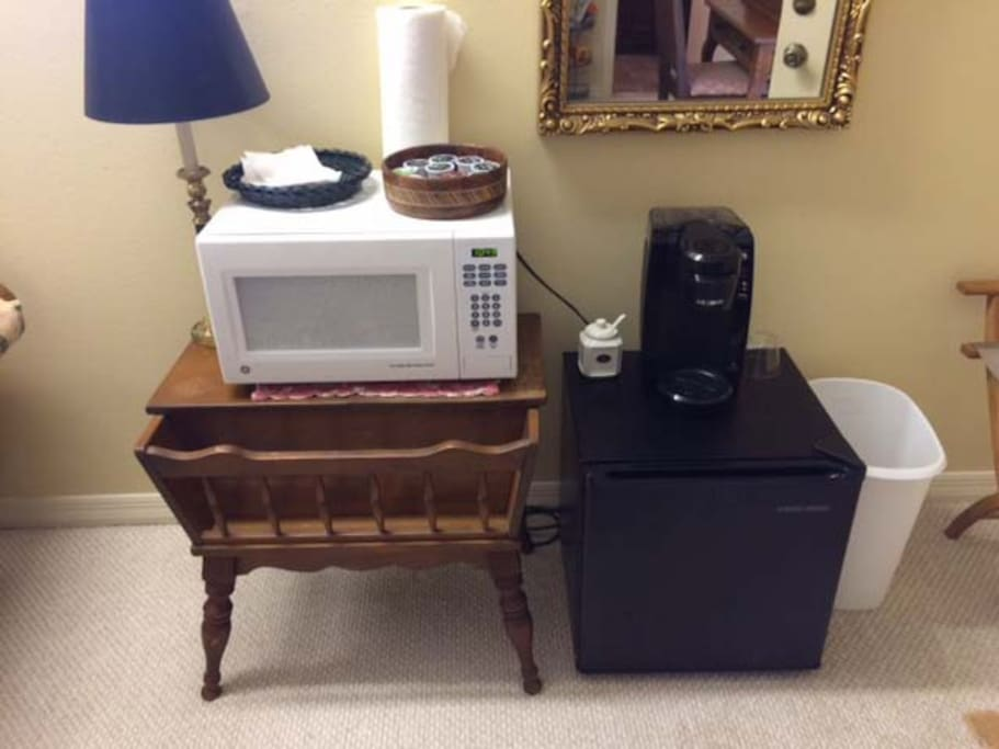 Small microwave and refrigerator.