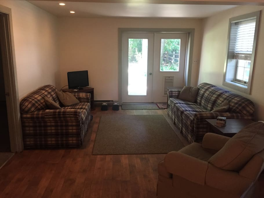 Two couches, one chair, and one television (with cable)