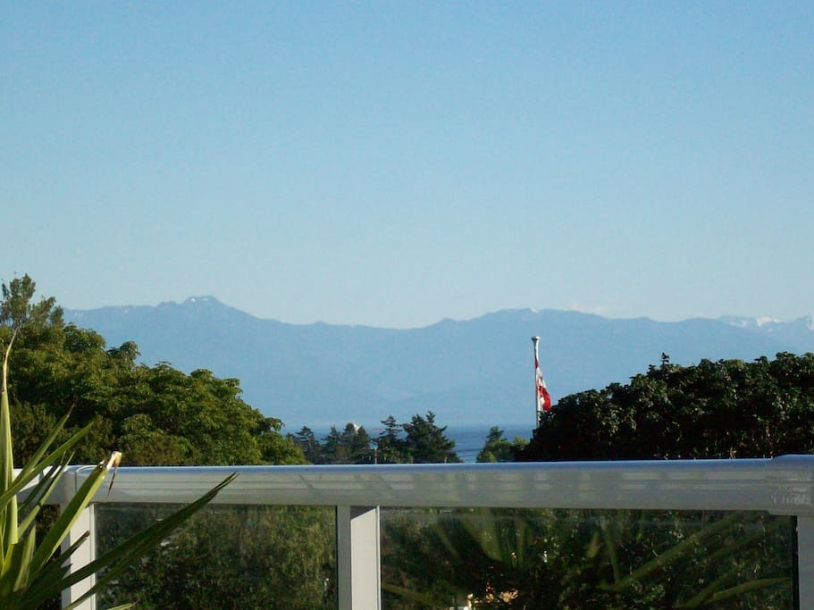 Rooftop deck showing straight of Juan de Fuca and Olympic Mountains