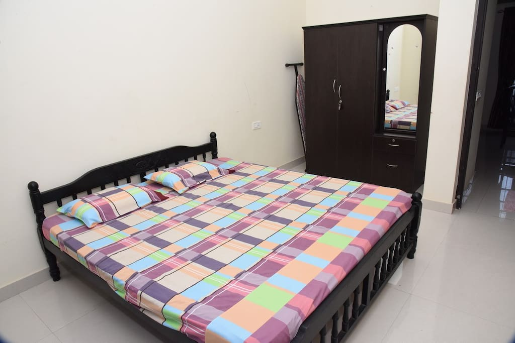 Bedroom Double Bed with Wardrobe and Air-Conditioner