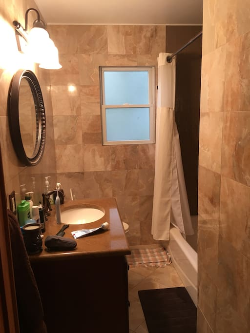 Downstairs bathroom, stone heated floors, full bathroom