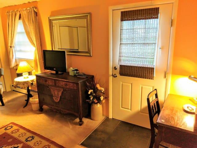dresser, desk and door to courtyard & Chillaxatron 5000!