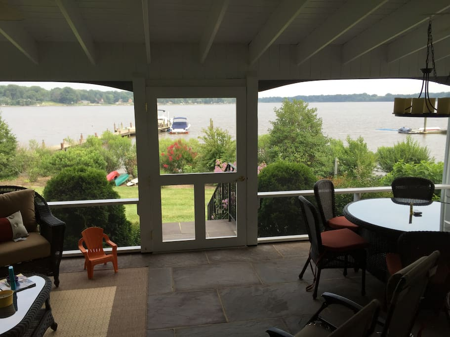 Screened in porch looking out at Chester River