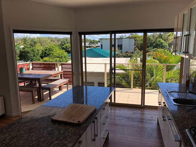 Spacious entertaining balcony with BBQ