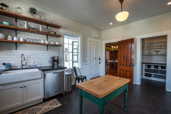 Guests will love spending time in the large farmhouse style kitchen.