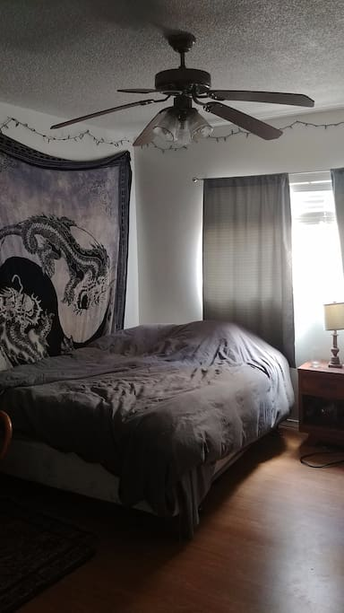 Roomy bedroom with queen bed and lots of closet space.