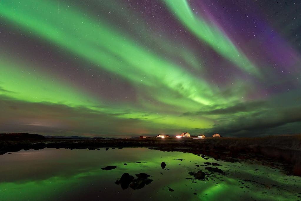 Northern lights flashing over the area