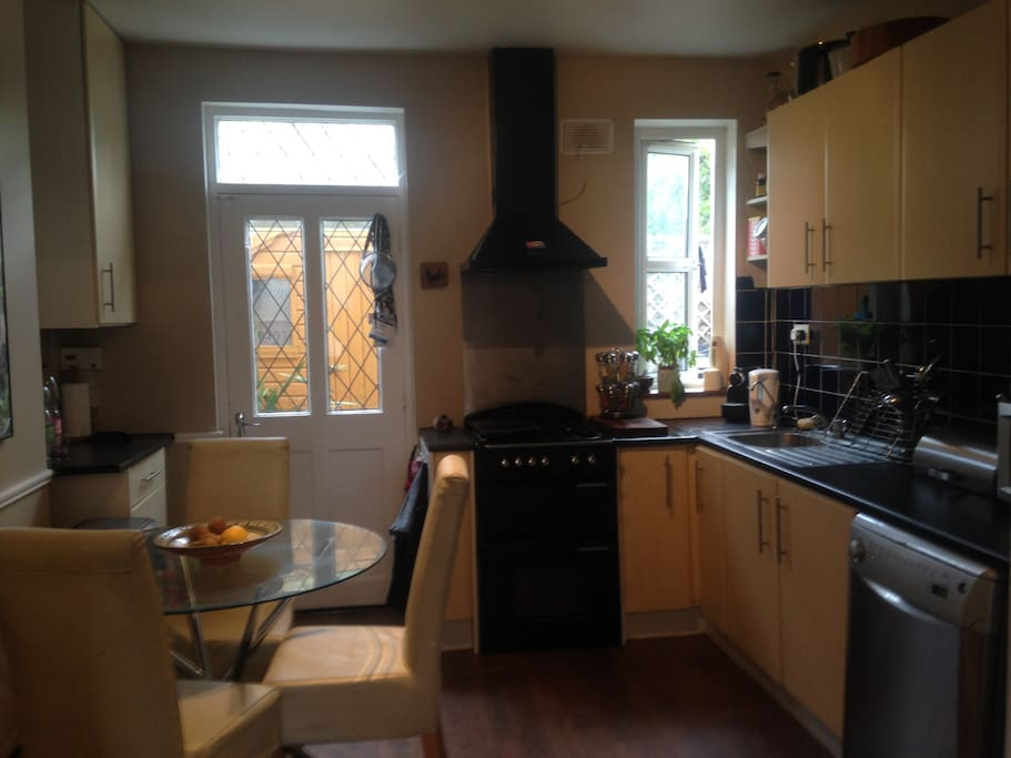 Gas cooker and hood with dishwasher and microwave
