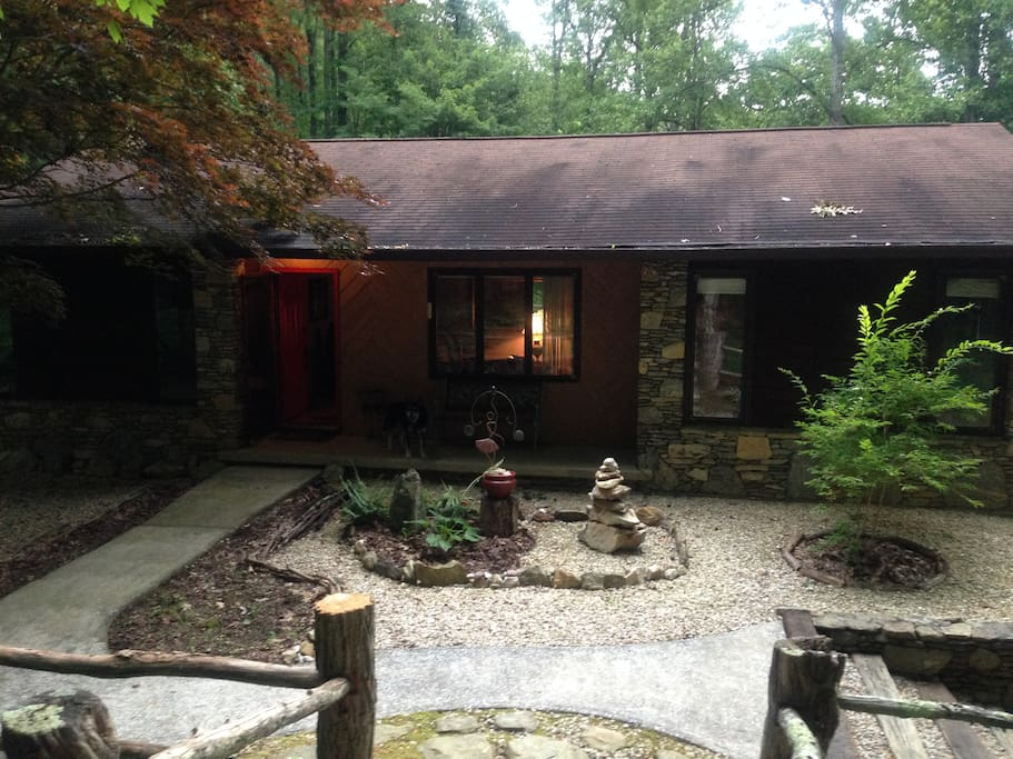 Front view with zen rock garden