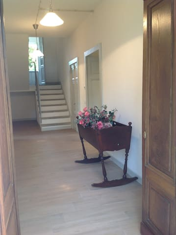 The entrance, the access to the kitchen, to the living room, to the rooms and to the small bathroom/laundry