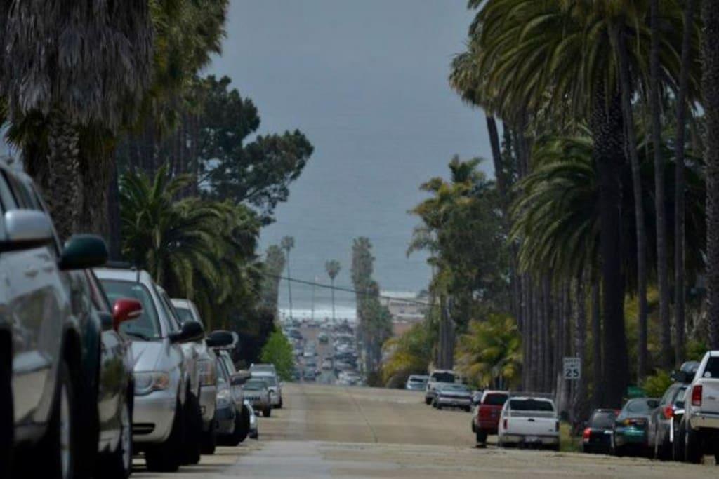 The view of Ocean Beach village