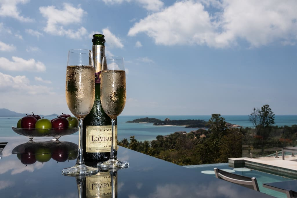 Champagne cocktails with a champagne view!