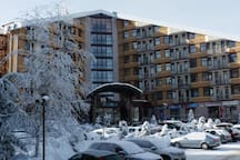 The hotel in the winter