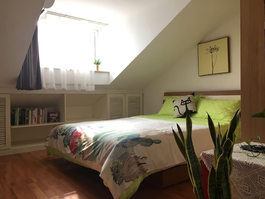 卧室全屋木地板 1.5米双人床(四件套会一客一换)