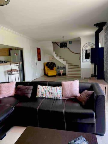 Grande pièce à vivre . Salon , salle à manger et cuisine ouverte . Poêle à bois .