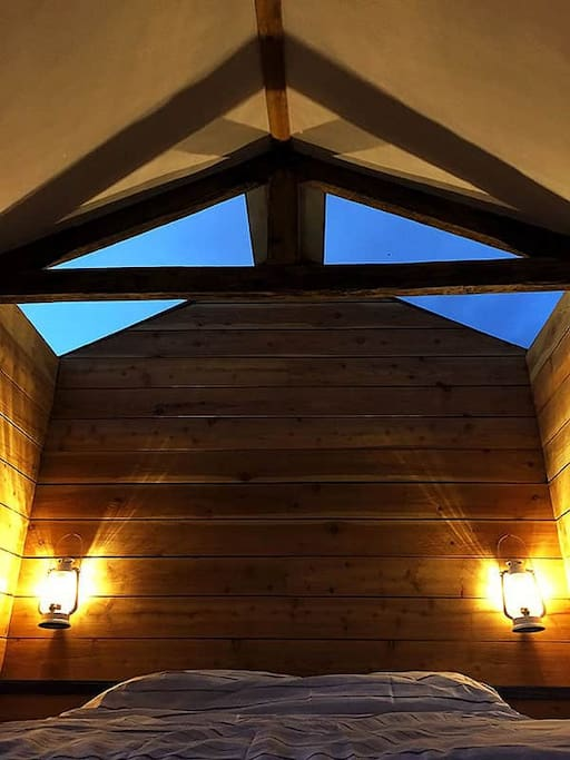 Warm lamp-lights and skylight