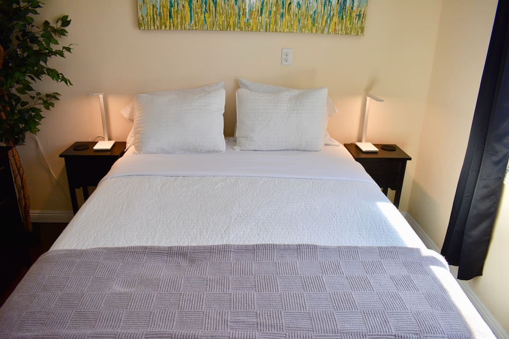Bedroom 1: queen bed, dresser, nightstands with USB lamps, dish heater, iron, plant, hangers, ironing board, mirror closet, air mattress, air pump, snorkelling gear, beach towels, beach chairs, beach cover, and 32-inch smart tv with Netflix, Sling TV and Amazon Video.