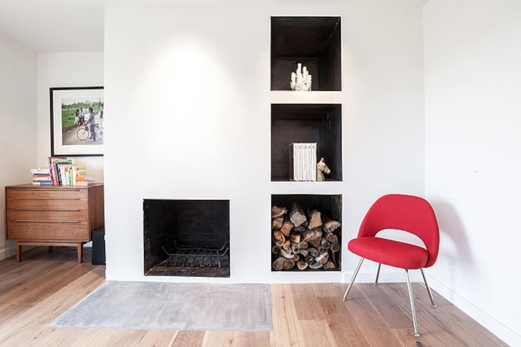 operational fireplace in living room