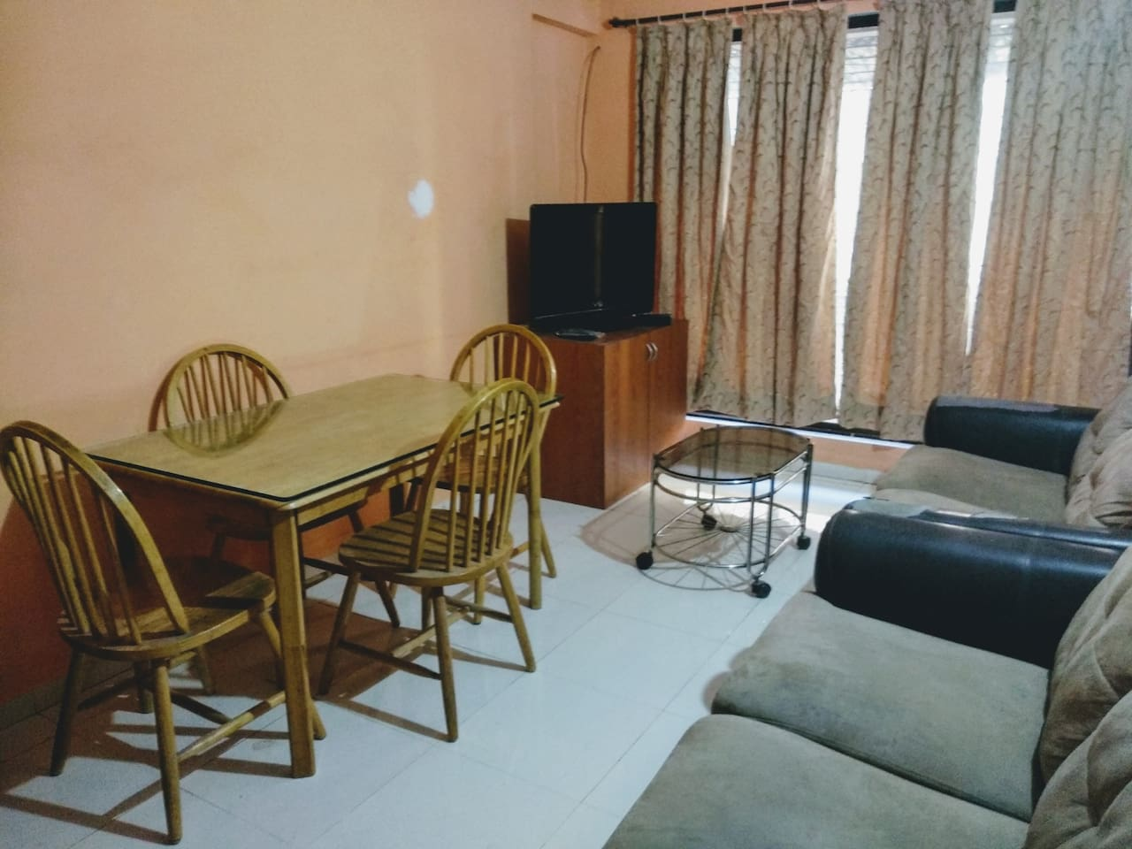 Hall with Sofa set, TV, and Dinning Table with 4 chairs