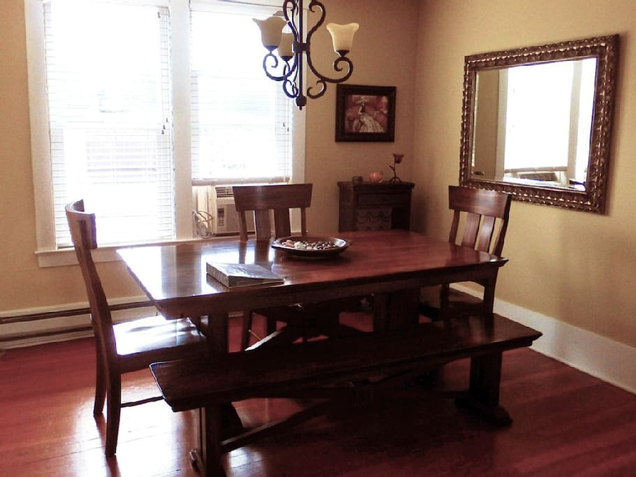 Dining Room table comfortably seats six