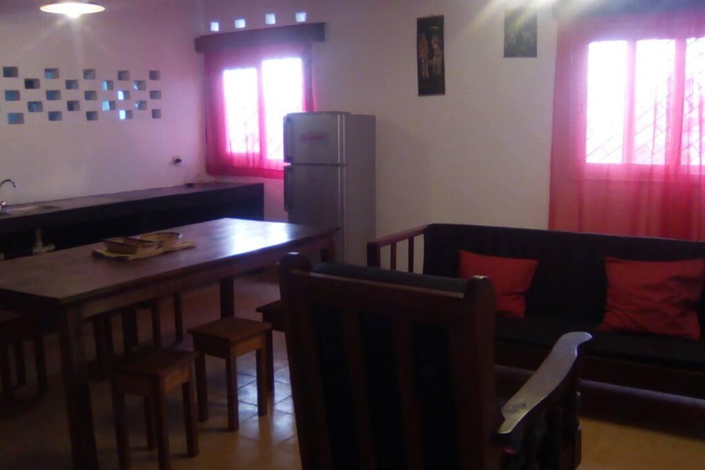 dinning room, kitchen, living room