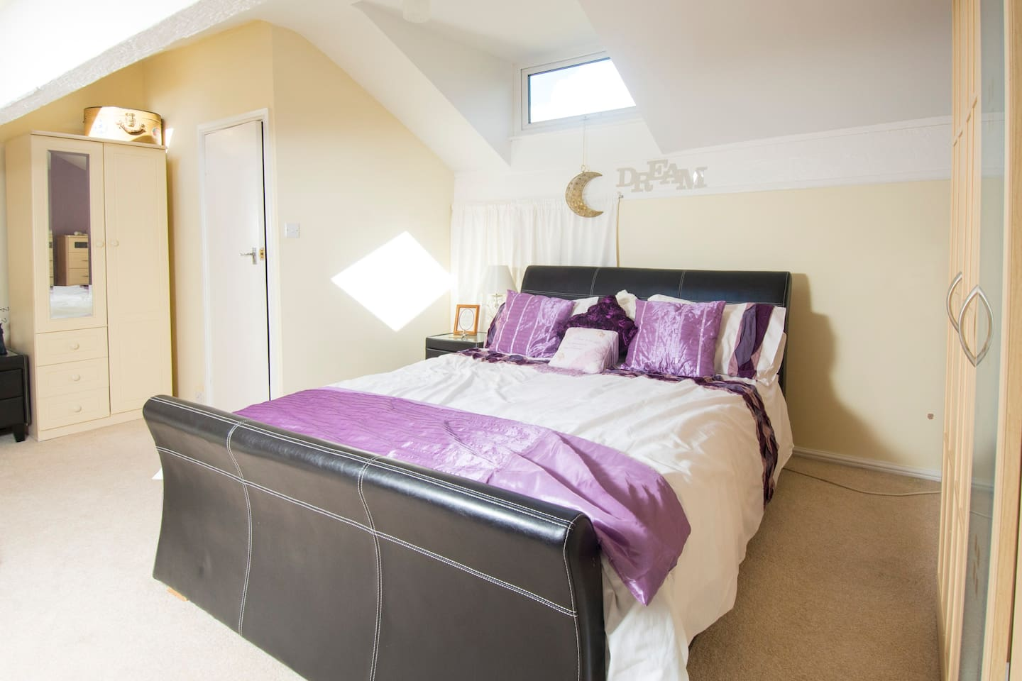 Loft room with king sized bed and separate single bed
