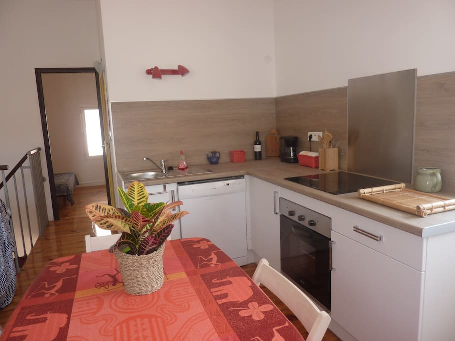 cuisine aménagée (lave-vaisselle, four, plaque, frigo, micro onde, cafetière éle ctrique, barbecue électrique...)